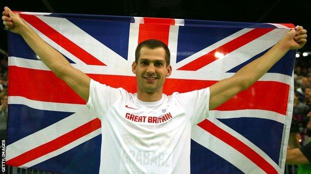 Robbie Grabarz celebrates his silver at the World Indoor Championships