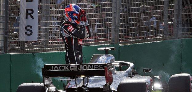 Haas driver Romain Grosjean after retiring at the Australian Grand Prix