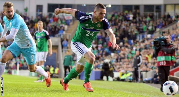 Conor Washington scores for Northern Ireland against Slovenia