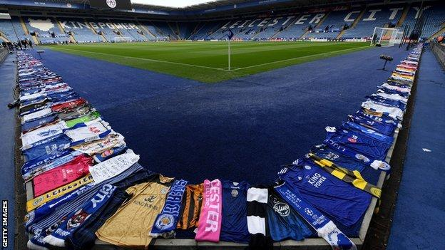 Tributes left around the pitch at the King Power Stadium