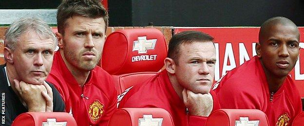 Wayne Rooney (second from right) on the Manchester United bench