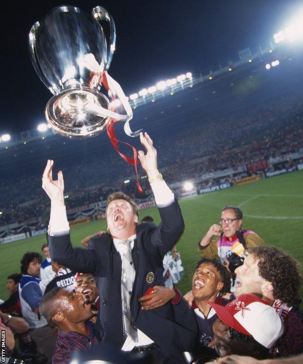 Louis van Gaal celebrates winning the 1995 Champions League with Ajax