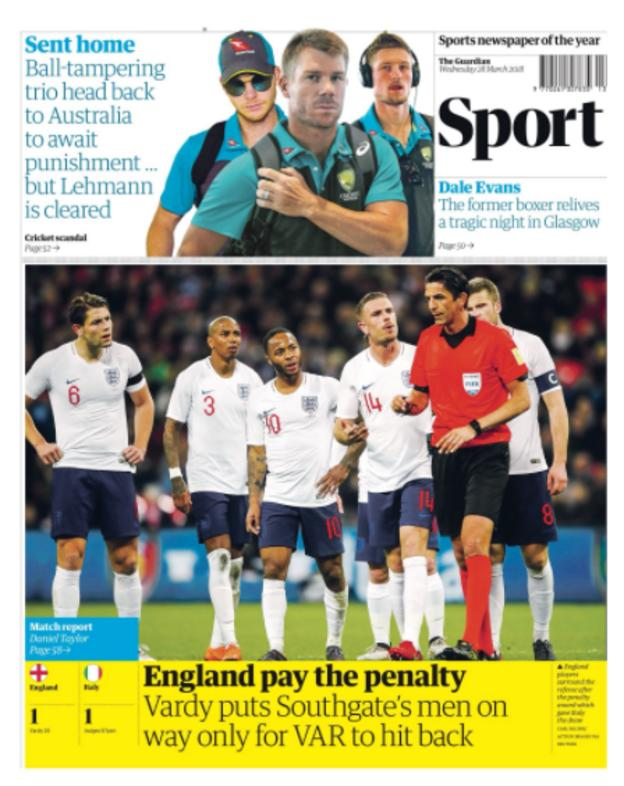 Wednesday's Guardian back page