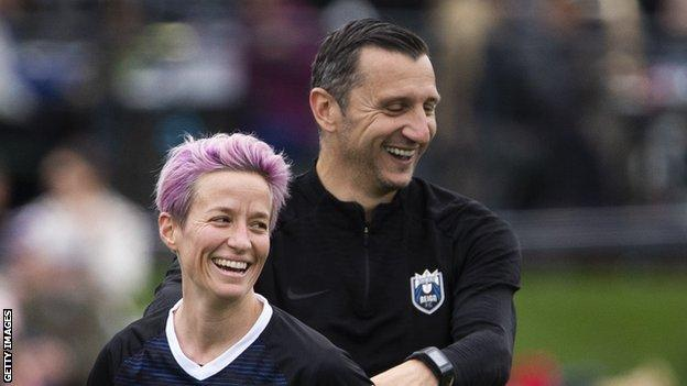 Reign FC coach Vlatko Andonovski with Fifa player of the year Megan Rapinoe