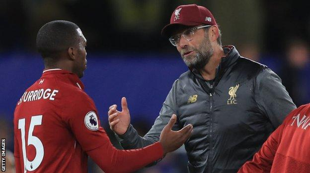 Daniel Sturridge with Liverpool boss Jurgen Klopp during 2018-19, his final season as a Reds player