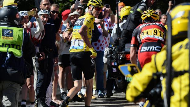 Tour de France: Chris Froome forced to run up Mont Ventoux after crash