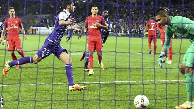 Yann Bodiger celebrates giving Toulouse the lead against Paris St-Germain