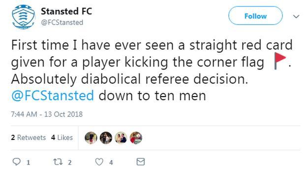 Stansted FC tweet.
