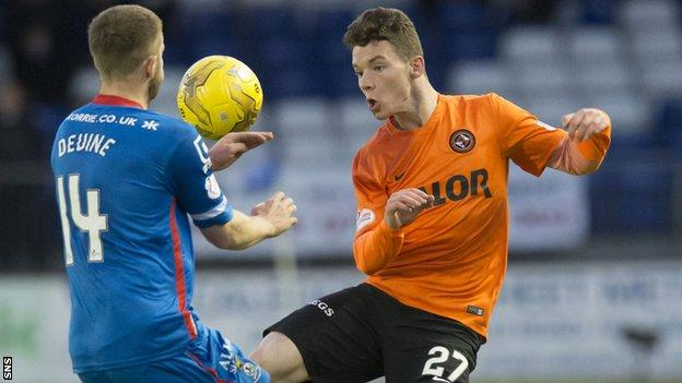 Dundee United's Ali Coote challenges for the ball against ICT