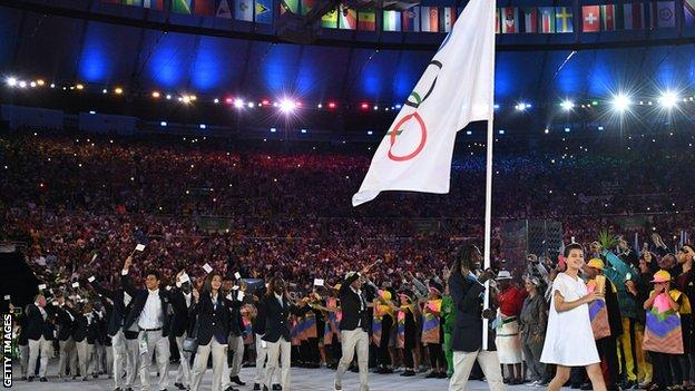 The Refugee Olympic Team at the opening ceremony of the Rio 2016 Games