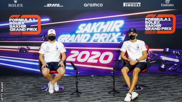 George Russell (right) will race alongside Valtteri Bottas for Mercedes at this weekend's Sakhir Grand Prix