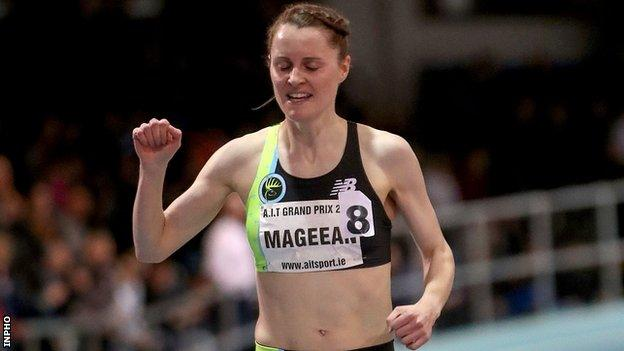 Ciara Mageean celebrates after winning the 3,000m at the Athlone International indoor meeting in February