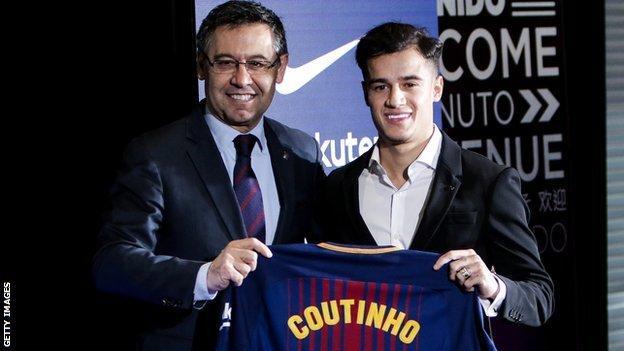 FC Barcelona president Josep Maria Bartomeu and Phillippe Coutinho