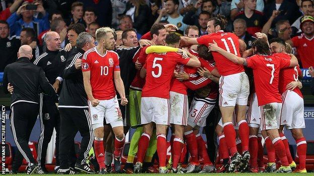 Wales celebrate Ashley Williams' goal