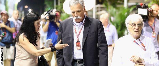 F1 supremo Bernie Ecclestone and Chase Carey, Chairman of Formula One Group