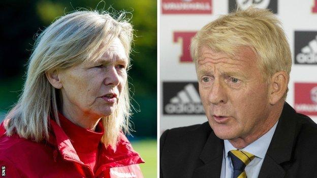 Scotland coaches Anna Signeul and Gordon Strachan