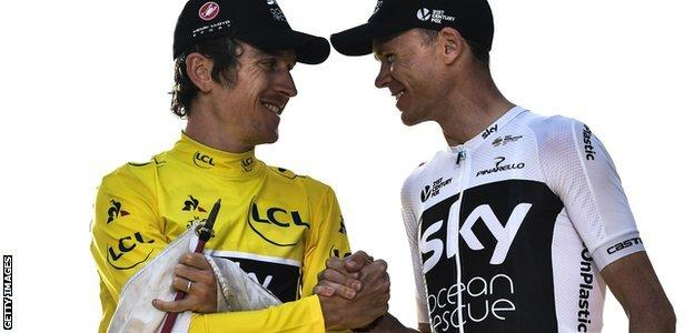 Great Britain's Geraint Thomas (left) and Christopher Froome