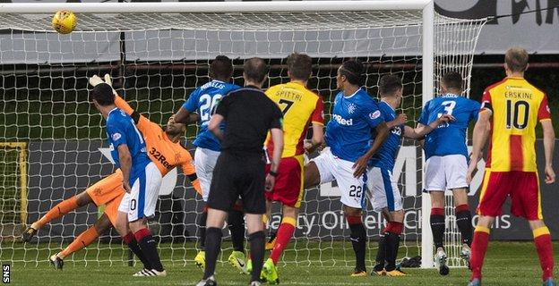 Blair Spittal levels for Thistle early in the second half with a fierce free-kick