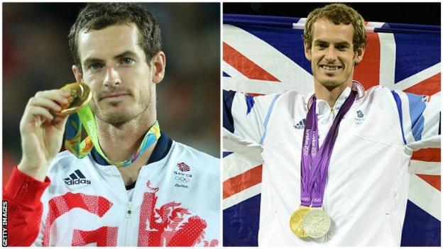 Andy Murray with his Olympic medals