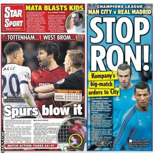 Tuesday's Daily star back page
