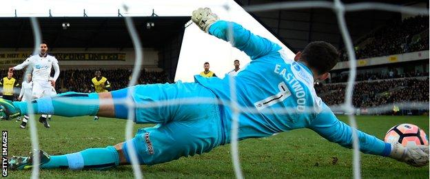 Oxford goalkeeper Simon Eastwood saves a penalty from Aleksander Mitrovic