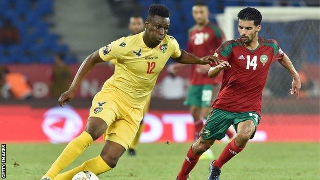 Razak Boukari playing for Togo against Morocco at AFCON 2017