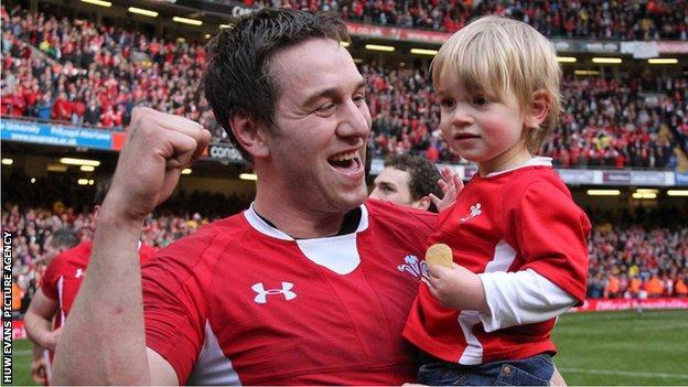 Ryan Jones with his son Jacob at the Millennium Stadium