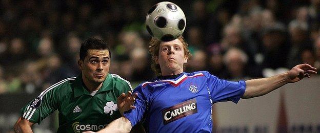 Chris Burke playing for Rangers against Panathinaikos