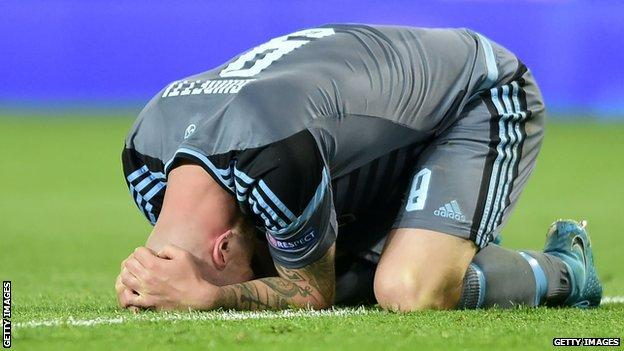 Celta striker John Guidetti after missing that late chance