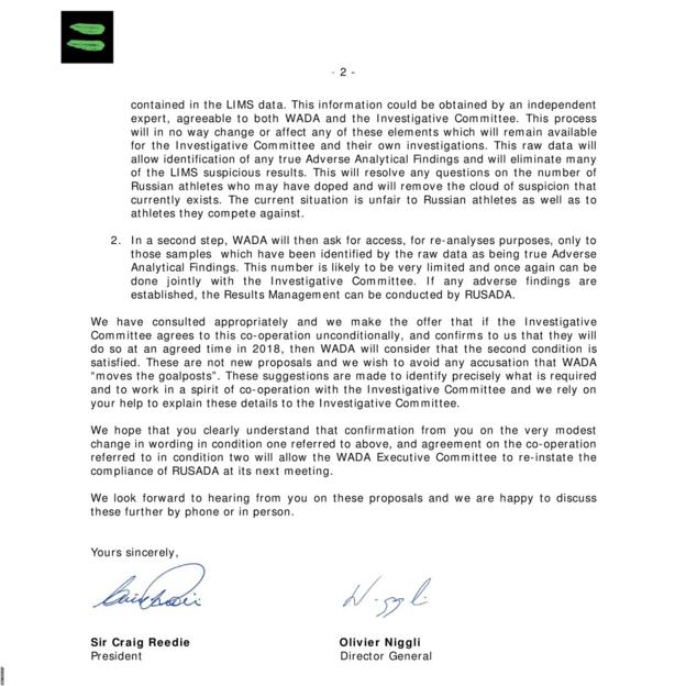 Letter sent from World Anti-Doping Agency to Russian Sports Minister Pavel Kolobkov