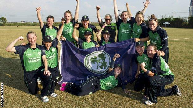 Ireland celebrate qualifying for the World Twenty20 after defeating Scotland