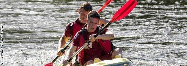 Harry Wilson and Ben Nugent (back) were paired together in a kayak