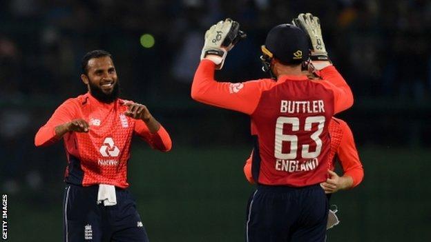 Adil Rashid celebrates wicket