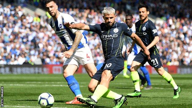 Sergio Aguero scores Manchester City's equaliser against Brighton