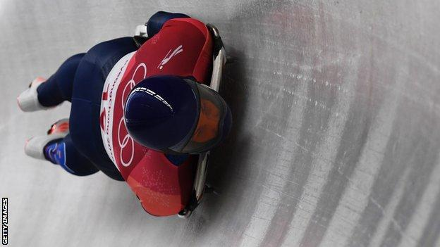 Dom Parsons of Great Britain slides during the Men's Skeleton heats on day six of the PyeongChang 2018 Winter Olympic Games at the Olympic Sliding Centre on February 15, 2018