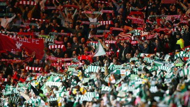 Celtic and Liverpool fans in 2003