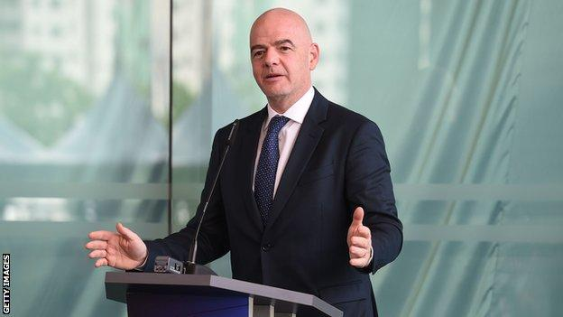 Gianni Infantino addresses delegates from the Asian Football Confederation