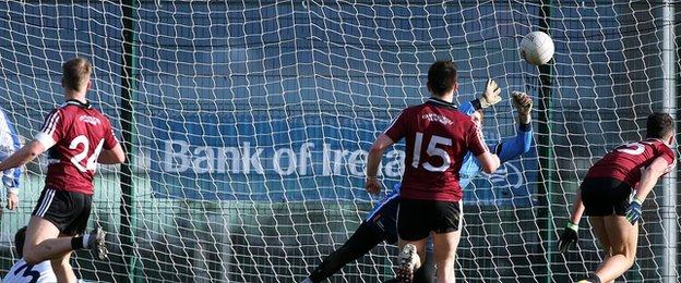 Jerome Johnston scores the only goal as his shot evades UUJ keeper Sean Fox