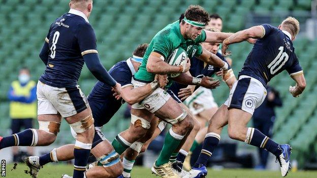 Caelan Doris on a rampaging run for Ireland against Scotland in December