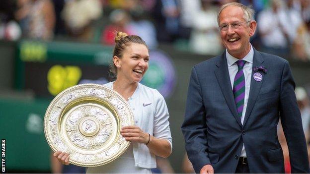 Richard Lewis and 2019 Wimbledon ladies' singles champion Simona Halep