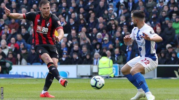 Dan Gosling of Bournemouth scores against Brighton