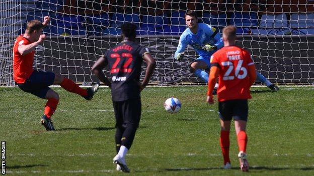 James Collins scores for Luton against Watford