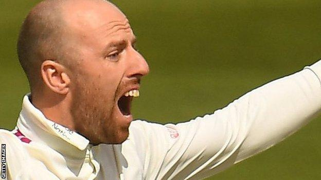 England spinner Jack Leach had no joy for Somerset against Middlesex, as his seven overs went for 28 runs
