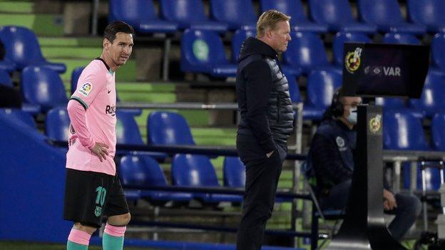 Lionel Messi and Barca boss Ronald Koeman