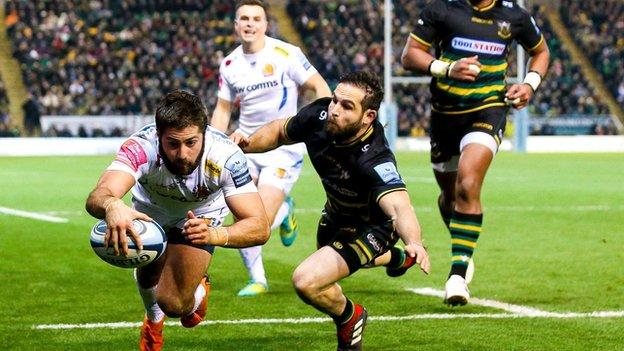 Exeter's second try by winger Santiago Cordero was set up by a brilliantly timed pass from in-form number eight Matt Kvesic