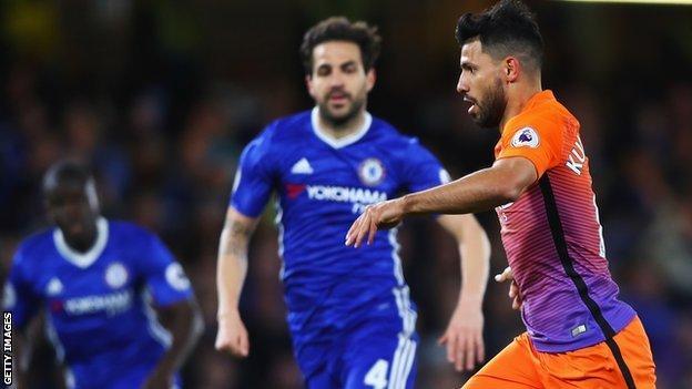 Chelsea's Cesc Fabregas and Sergio Aguero of Manchester City