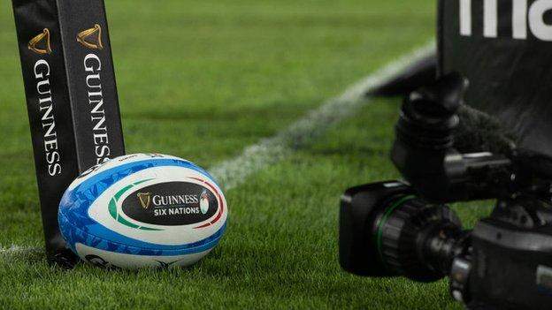 A camera focused on a ball at the Six Nations