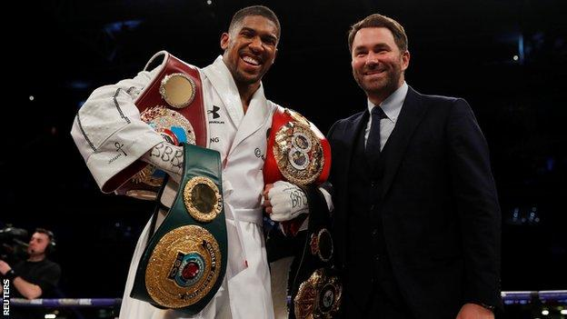 Anthony Joshua and promoter Eddie Hearn