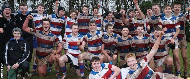 Dalriada celebrate clinching their place in the semi-finals after beating Bangor Grammar