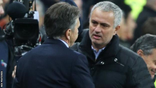 Manchester United manager Jose Mourinho speaks to Southampton boss Claude Puel at the end of the EFL Cup final